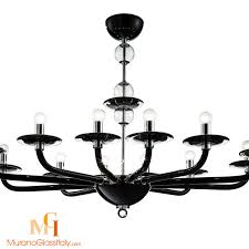 disco black modern murano glass chandelier oval shaped 12 arms 1 level