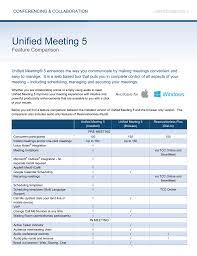 Unified Meeting 5 Feature Comparison Manualzz Com
