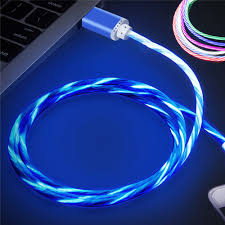 Blue Light Up Iphone Charger 1m Smile Grow Led Micro Usb Cable Light Noodle Flat Micro