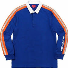 details about supreme ny reflective sleeve stripe rugby shirt royal blue street wear