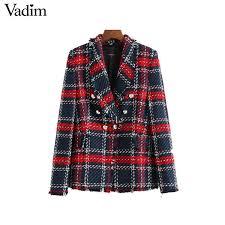 2019 Vadim <b>Women Chic Plaid Tweed</b> Blazer Pockets Fringe Tassel ...