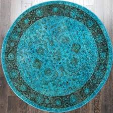 traditional vintage inspired fl turquoise round rug cm overdyed rugs australia x html