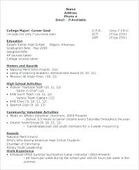 Resume Template For College Stunning Resume Template For Highschool Students With No Work Experience