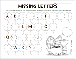 Missing Letters – St. Patrick's Day ABC Worksheet | Squarehead ...