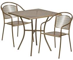 indoor outdoor table set furniture material square steel patio with 2 round back decorating astonishing