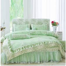 mint green and beige french country fl print romantic shabby chic ruffle lace elegant wedding twin full queen size bedding sets