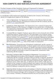Free Nevada Non Compete Non Solicitation Agreement Pdf