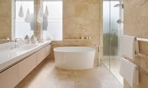 travertine in bathroom. Floor To Ceiling Travertine Brings Calm And Elegance A Bathroom Space, As Seen In This Design By Mim E