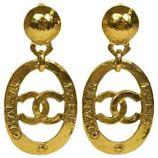 chanel vine gold large cc chanel paris doorknocker round hoop earrings in box