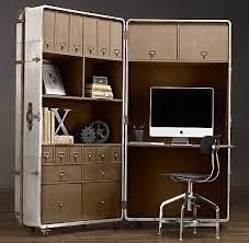 office desk hardware. saw this today at restoration hardware big steamer trunk office nook loved it desk