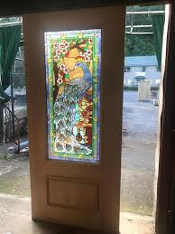 details about beautiful leaded stained glass peacock exterior or interior door jhl2167 4