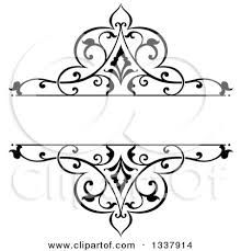 black vintage frame design. Clipart Of A Black And White Ornate Vintage Floral Frame Design Element With Text Space 5 - Royalty Free Vector Illustration By Tradition SM