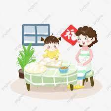Hình ảnh Không Khí Gia đình Vẽ Tay Thẻ Qua Bánh Bao Năm Phim Hoạt Hình Mẹ Và  Cô Bé Làm Bánh Bao Bánh Bao Li Dong, Bánh Bao Li Dong, Bao,