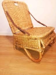 antique folding wicker canoe chair
