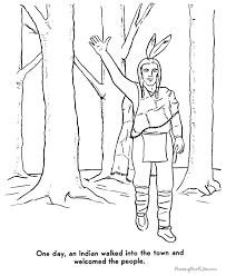 Small Picture Pilgrim and Indians coloring pages 016