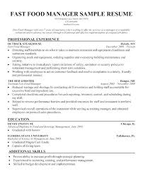 Fast Food Restaurant Manager Resume Resume Examples For Fast Food Emelcotest Com