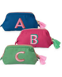 alphabet embroidered makeup bag