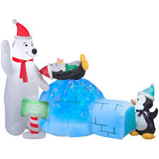 airblown holiday 6 ft h x 8 ft w animated inflatable polar bear