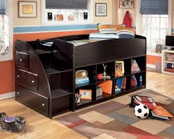 signature design by ashley embrace twin loft bed with left storage steps bookcase chest michael s furniture warehouse loft beds