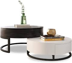 Japanese antique furniture tea table wooden storage cabinet one drawer paulownia wood asian traditional living room furniture. Amazon Com Homary Round Coffee Table Storage Lift Top Wood Coffee Table Lifts Up With Rotatable Drawers White Black Kitchen Dining