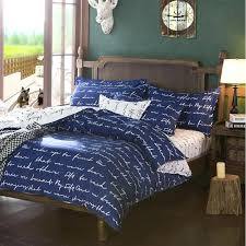 luxury royal blue twin full queen size bed sheets elegant bedding with white words print quilt