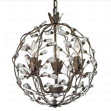 rustic 3 light twig type ball shaped chandeliers crystal