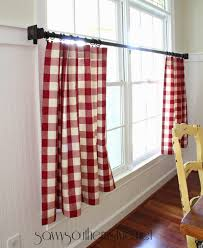 Red Plaid Kitchen Curtains Savvy Southern Style The Mister Made Easy No Sew Curtains