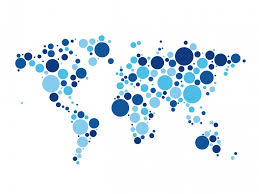 World Map Circles White Background Dotted World Map Icon
