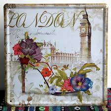 london slogan vintage wall art decor metal signs iron painting
