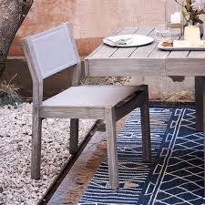 portside outdoor textilene dining chair weathered gray