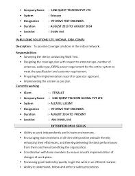 Drive Test Engineer Sample Resume Mesmerizing 40 Rf Engineer Resume Sample Drive Test Ooxxooco