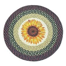 sunflower area rug rugs round kitchen large hand hooked sunflower area rug