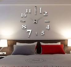 modern 3d wall clock mirror sticker