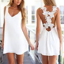 Women <b>V Neck Backless Lace Crochet</b> Chiffon Dress – awashdress