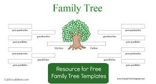 famiy tree free family tree template for cub scouts cub scout ideas