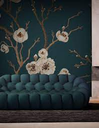 Blue Japanese Floral Wall Mural ...