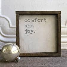 comfort and joy framed wall sign