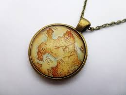 peter pan neverland aged map antique bronze round pendant necklace