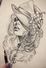 эскиз девушки в шляпе идея тату 30