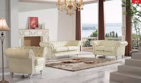 287 Leather Living Room Set in Cream Free Shipping