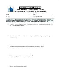Employee Self Evaluation Sample Annual Performance Review