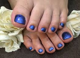 Nail Salon Freestyleメタリック系ブルーの一色塗りフットネイル