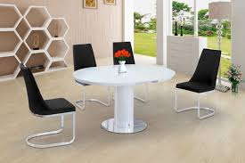 eclipse round oval gloss glass extending 110 to 145 cm dining table white