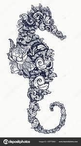 Mořský Koník Tetování A Tričko Design Symbol Cestování Svoboda