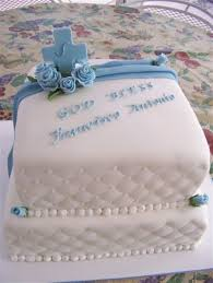 Blue And White Christening Cake Cakecentralcom