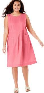 Light Pink Linen Dress Woman Within Womens Plus Size Pocketed Sleeveless Linen Dress
