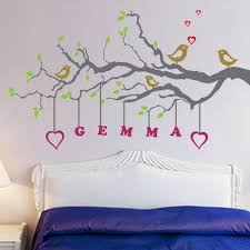 Small Picture Beautiful Birds and Tree Wall Stickers Decals with Name Quotes in