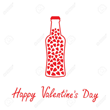 Beer Bottle With Hearts Inside Happy Valentines Day Card Vector