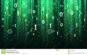 Dark Green Background With Binary Code Sequins Light Gold