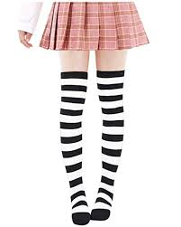 <b>Anime</b> Multicolor Preppy Over Knee Mizore Shimakaze Stripe ...
